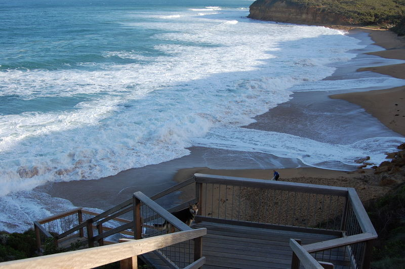 Bells Beach. Australia. Water Sea Wave Motion Aquatic Sport Surfing Railing Sport Nature Land Beach Beauty In Nature High Angle View Staircase Day Scenics - Nature Architecture Outdoors Power In Nature Breaking Flowing Water Bells Beach Australia
