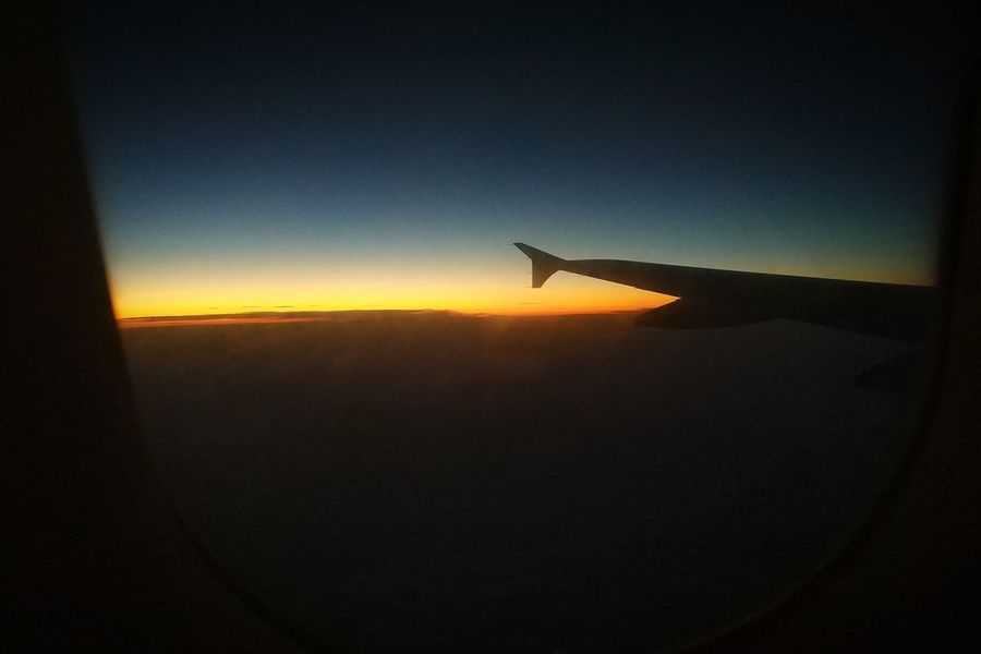 Sky Airplane Sunset Flying Aircraft Wing Journey