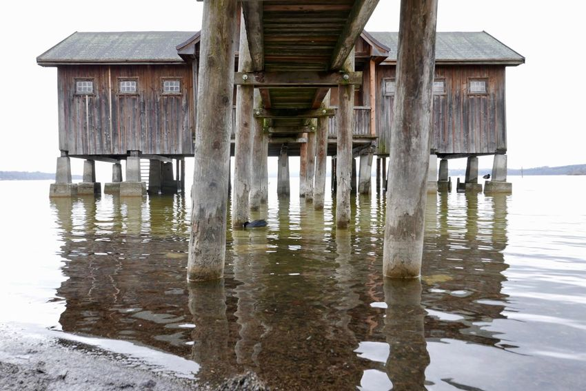 Badehäuschen Ammersee Lumix Lx100 Built Structure Wood - Material Architecture Hut Water Stilt House Sea Outdoors Beach Nature No People