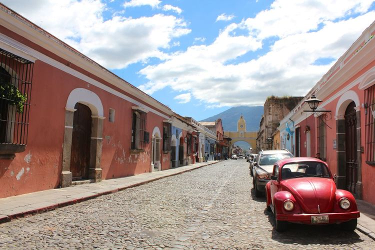 Where time stops. Architecture Cloud - Sky Sky Street Raconets Travel Guatemala Antigua Guatemala Quiet Lovely Peace Volcanic Landscape Nature Day Building Exterior Walking Colonial Car Moments Culture History Building Outdoors