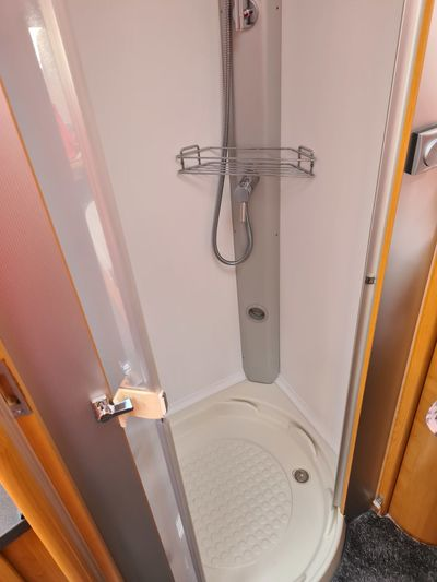 High angle view of train in bathroom
