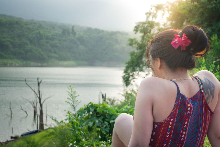 Portait Morning Light Rear View River View Sky And Clouds Trees Beautiful Woman Beauty In Nature Outdoors Relaxing Time Sky Water