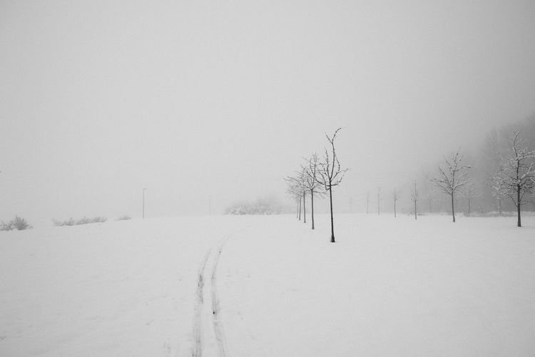 Snow covered field against sky