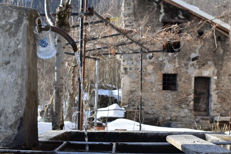 Glass Acqua Fonte Water Montains    Montagna Capodanno Hanging Day No People Architecture Snow Outdoors Nature Tree