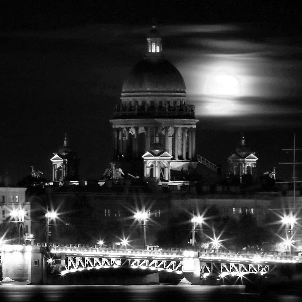 illuminated, night, religion, architecture, spirituality, building exterior, place of worship, light beam, outdoors, no people, sky