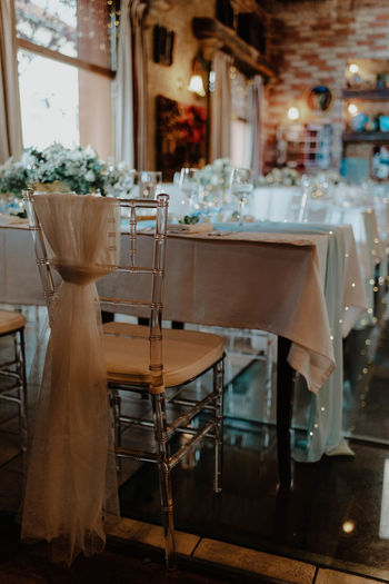Chairs and tables in restaurant