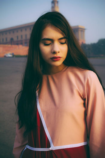 A fashion photo story exploring the feeling of Nostalgia Long Hair Young Adult Hairstyle Beauty Focus On Foreground Women Beautiful Woman Outdoors Portrait Fashion Photography Fashion Model Retro Vintage Hipster Pastel Dreamy Ethereal Sunlight Trendy Street Fashion Brunette Caucasian Architecture India Beautiful