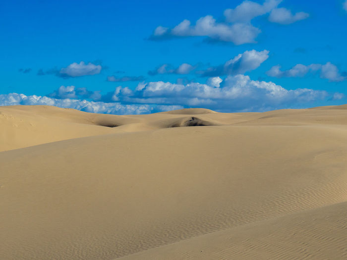 Sand dunes in desert against blue sky