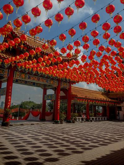 Gazebo in temple against building