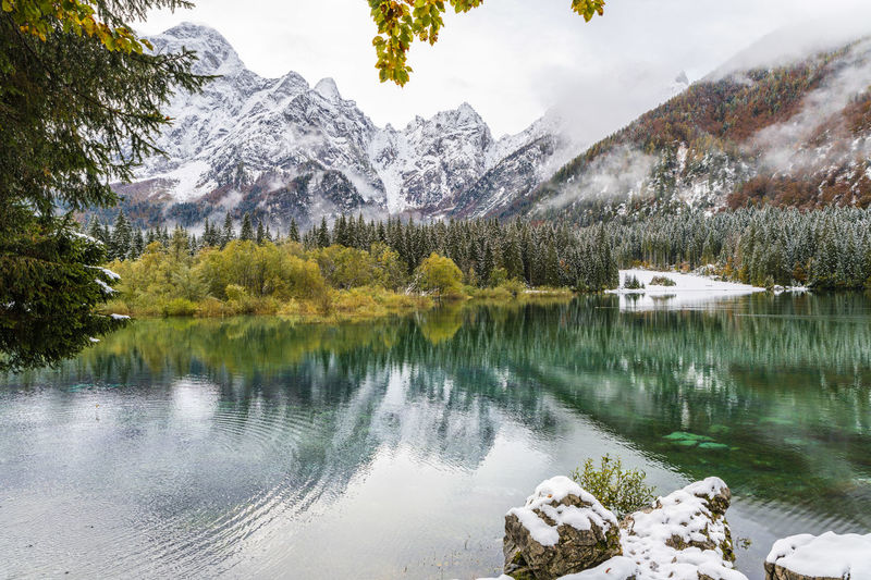Scenic view of lake by snowcapped mountains