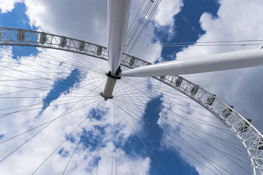 Amusement Park Ride Arts Culture And Entertainment Cloud - Sky Cloudy Day Engineering Ferris Wheel London London Eye Low Angle View No People Outdoors Sky Tall - High Tourism Travel Destinations EyeEm LOST IN London
