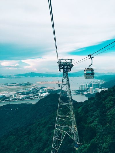 On The Way Fine Art Photography HongKong China Photos Mountains Cable Car Green Green Color Green Green Green!  Tower High Angle View High Ropeway Cableway