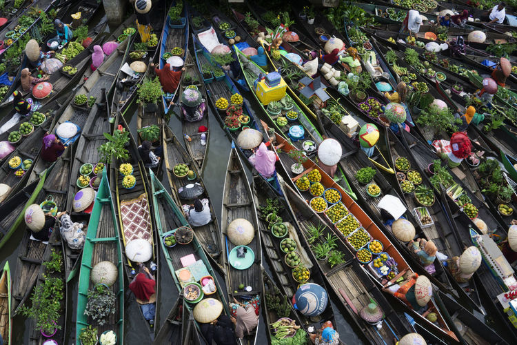 High angle view of boats at market