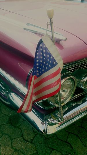USA in Germany Vintage Cars US Flag Close-up Brunswick Braunschweig