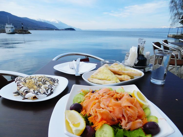 Breakfast Ohrid Lake Eating Enjoying Life Landscape Relaxing Peaceful Macedonia Lake Traveling Sky Mountains Lake View Ohrid Landscapes The Great Outdoors - 2016 EyeEm Awards Boats Beutiful Day