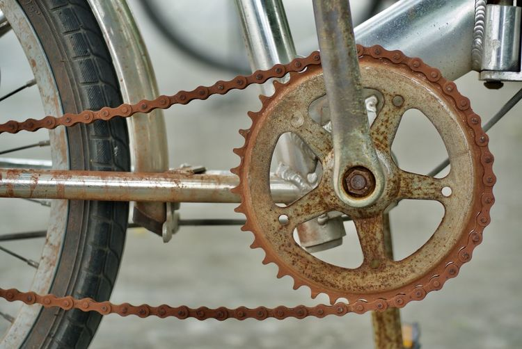Close-up of rusty bicycle chain
