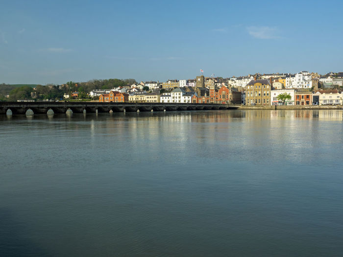 The beautiful and historic Devon town of Bideford . Architecture Built Structure Building Exterior City Building Residential District Nature Sky No People Day Outdoors Bridge Long Bridge Bideford North Devon Devon England Uk Quaint  Historic Waterfront River Side Quality Time Quayside Harbour Scenic View Devon Town River Torridge Viewpoint Views Coastal Feature