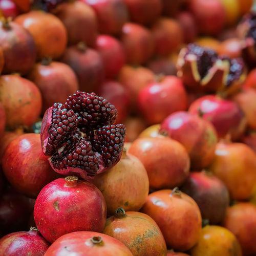Full frame shot of pomegranates for sale at market