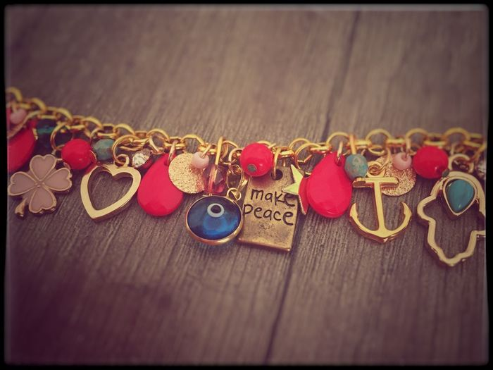 Evileye Heart Jewelry Pink Gold Colored Home Made Bracelet Make Peace Not War ✌ Close-up Jewelry No People Text Heart Shape Positive Emotion Creativity