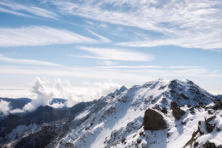 Snow capped mountain view from yarigatke summit. kamikochi, nagano, japan