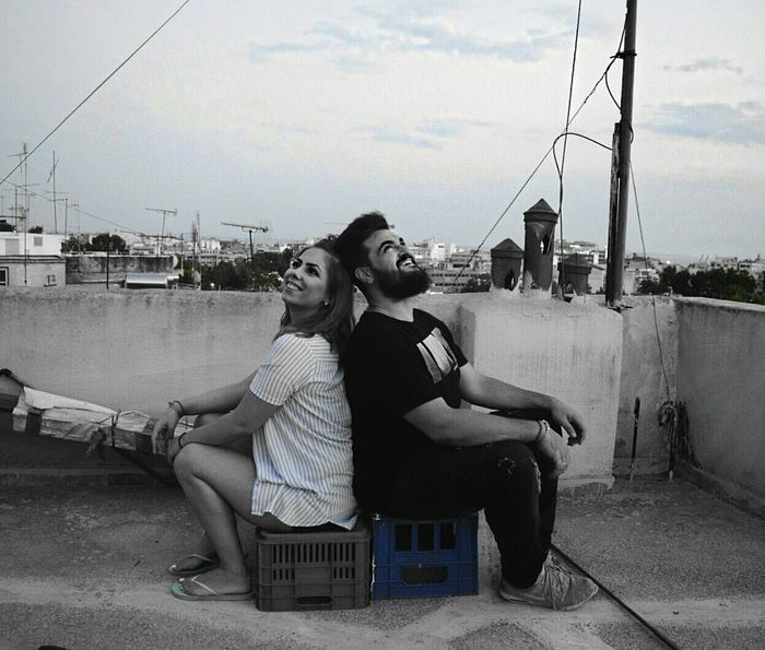 Adults Only People Sitting Outdoors Two People Sky Love Couple Couplesphotography Portrait Laugh Couple In Love Couplephotography Coupleshot