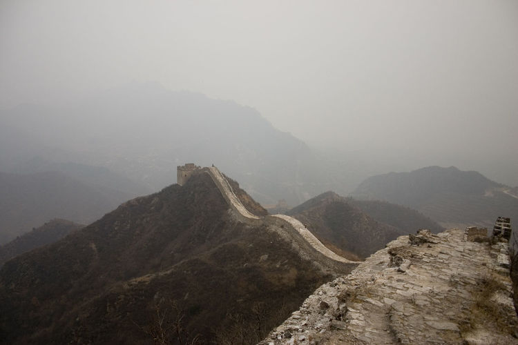 High Angle View Of The Great Wall During Foggy Weather