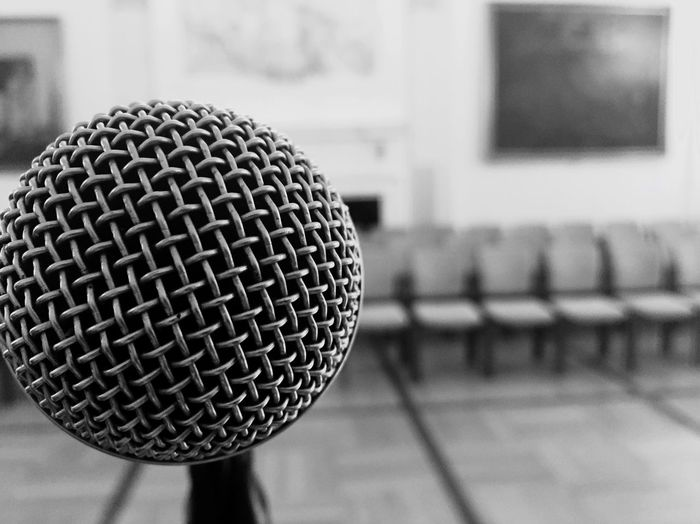 Close-Up Of Microphone In School Building