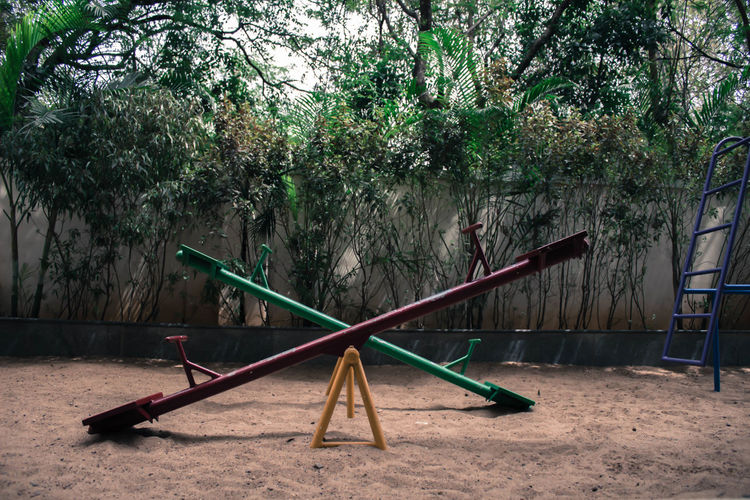 Empty seesaw in playground
