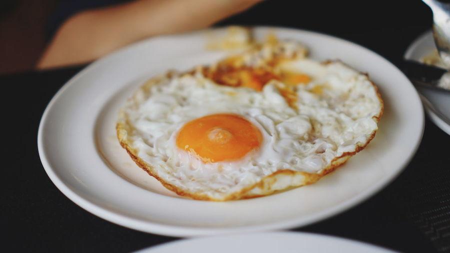 Egg Yolk City Sunny Side Up Fried Egg Plate Breakfast Egg Close-up Food And Drink