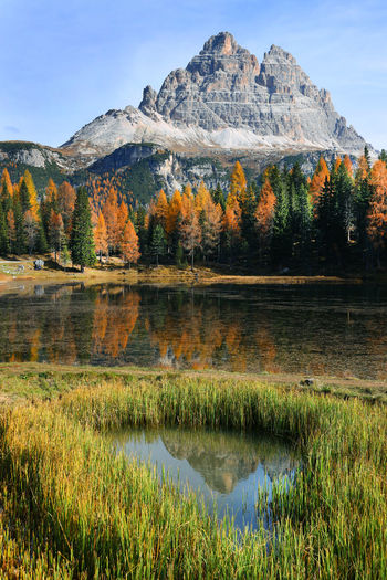 Scenic view of lake against mountain during autumn