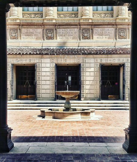 Pasadena Public Library Engraved Engraved Quote Myron Hunt Library Fountain Public Fountain Mediterranean  Mediterranean Architecture Window Architecture Building Exterior Built Structure Entryway Closed Door Wall Entrance