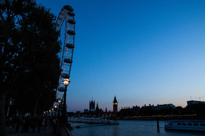 London Eye & Westminster view from Southbank Architecture Blue Built Structure City Clear Sky G Leisure Activity London Eye Parliament Tall - High Thamse That's Me Travel Destinations Twilight Twilight Sky Water