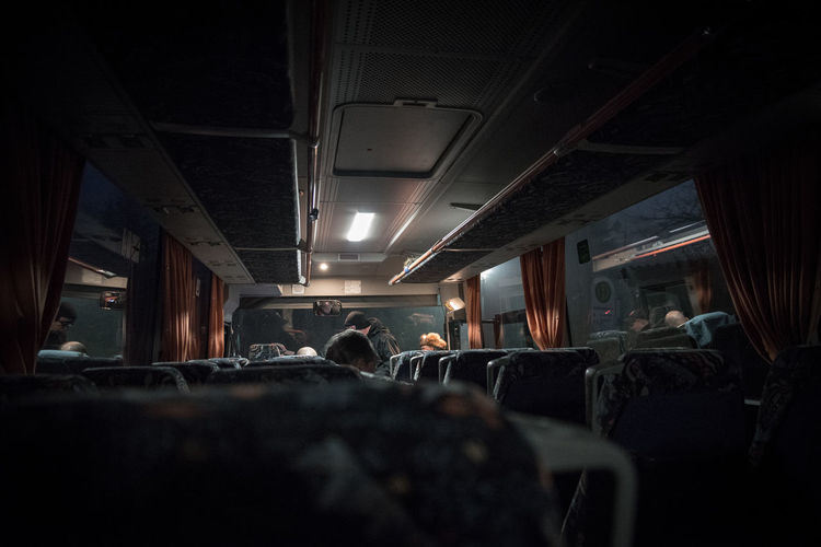 Random Adult Bus Crowd Driving Indoors  Night On The Way People Sitting Streetphotography