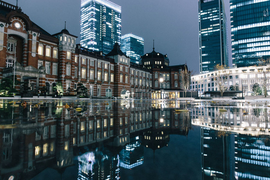 last night at Tokyo station Japan Night Lights Nightphotography Tokyo Station Tokyo,Japan Architecture Building Exterior Built Structure City Illuminated Night Night View Outdoors Reflection Reflections In The Water