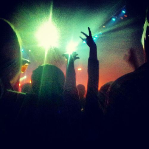 My usual view at a gig. The backs of people's heads and little else Itsharfbeingsmall Bandofskulls Brixtonacademy