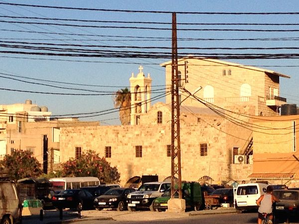 Man And Nature Power Lines Old Buildings Old Church Tyre Christian Quarter Lebanon South Lebanon East Mediterranean