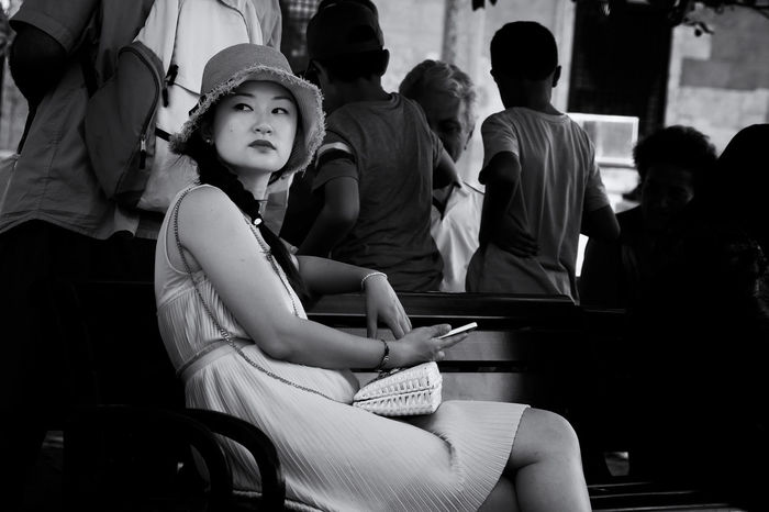 Thoughtful look. China Girl Intent Monochrome Oriental Portrait Portrait Of A Woman Sitting Streetphotography Woman Young Women