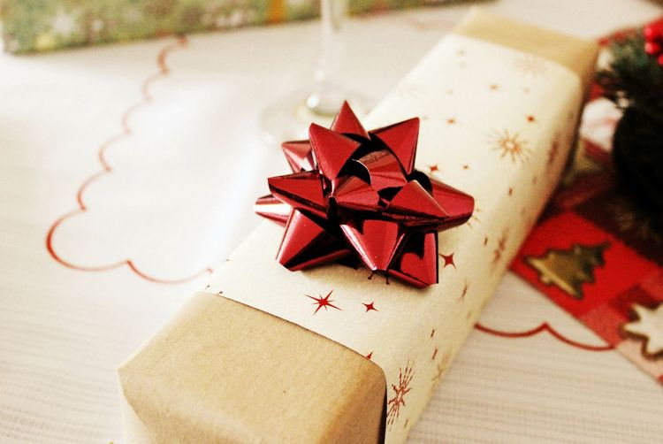 Close-up of christmas gift on table