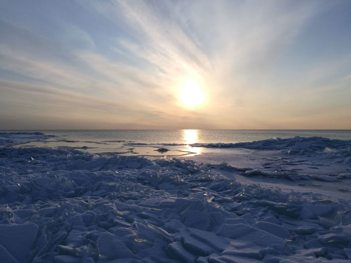Ice Sunset Sea