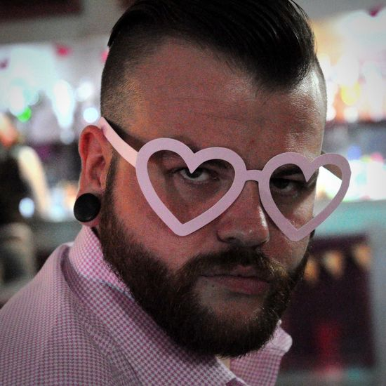 Pink Color Portrait Indoors  One Person Close-up Heart Glasses