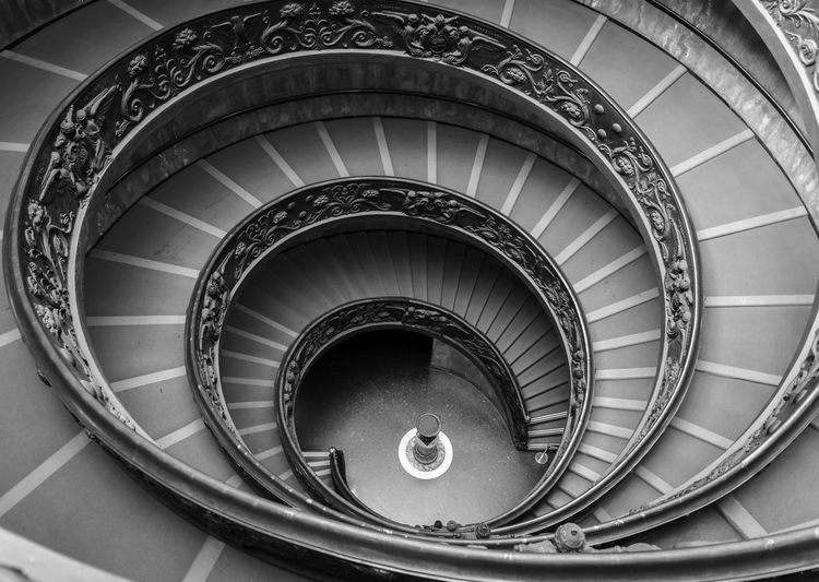High Angle View Of Bramante Staircase At Vatican Museums