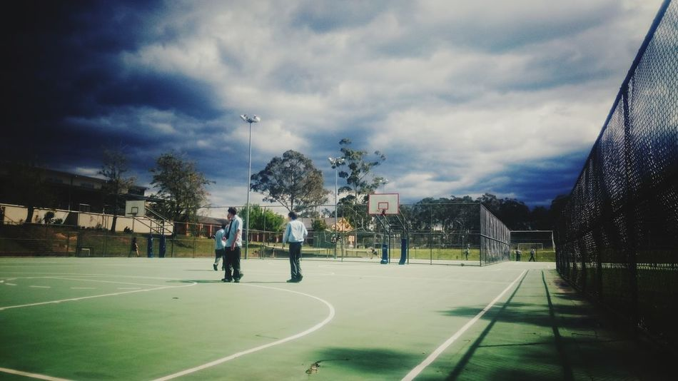 Full Length Sport Sky Cloud Road Street Cloud - Sky Basketball Hoop Basketball - Sport Group Of People Outdoors Day Cloudy Storm Cloud Court Practicing