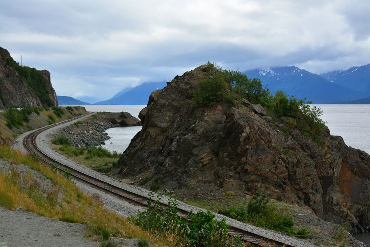 Railroad Track By Rock Formation Against Cloudy Sky