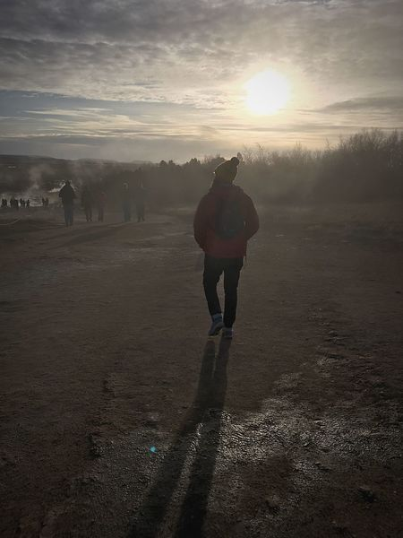 Strolling the Geysers Iceland Trip Iceland Memories Full Length Sun Sunset Walking Nature Real People One Person Sunlight Beauty In Nature Tranquility Outdoors Scenics Winter Day