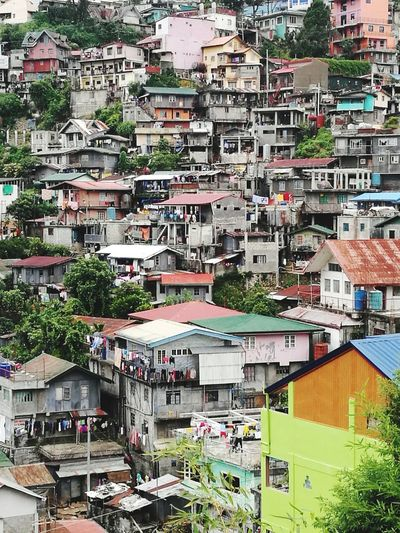 Elevated Over Crowded Over Populated City Cityscape Ghetto Full Frame Architecture Building Exterior Built Structure Street Art Residential District