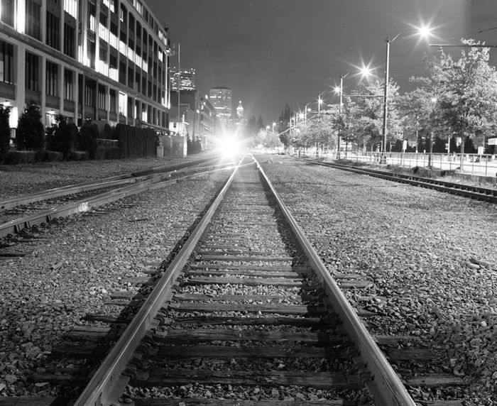 I didn't expect the train when I began this 90 second exposure but I like how the light works with this image. Shot with Mamiya RB67 on Fuji Acros Neopan 100 film. Medium Format RB67 Nightphotography Blackandwhite