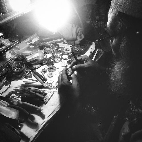 The clock man! Bnw Dhaka Market Photography Mobilegraphy Shadow People
