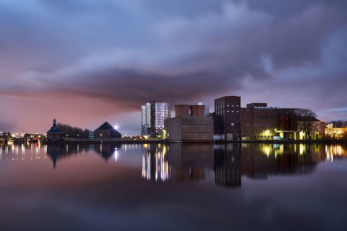 Sugar City Architecture Atmosphere Atmospheric Mood Dusk Dusk Colours Dutch Dutch Landscape Dutch Skies Europe Halfweg Holland Holland❤ Lake Long Exposure Nederland Netherlands Reflected Glory Reflection Reflection_collection Sugar City Tranquil Scene Twilight Water Water Reflections Water_collection