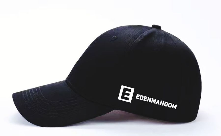 My Brand, My Name, My Design. Edenmandom Baseball Cap White Background Studio Shot Black Color Cut Out Close-up