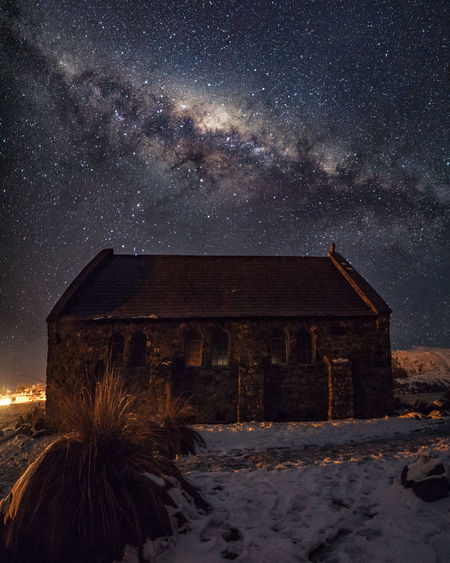 Architecture Astronomy Beauty In Nature Building Building Exterior Built Structure Cold Temperature Constellation Galaxy Milky Way Nature Night No People Outdoors Scenics - Nature Sky Snow Snowcapped Mountain Space Star Star - Space Star Field Winter